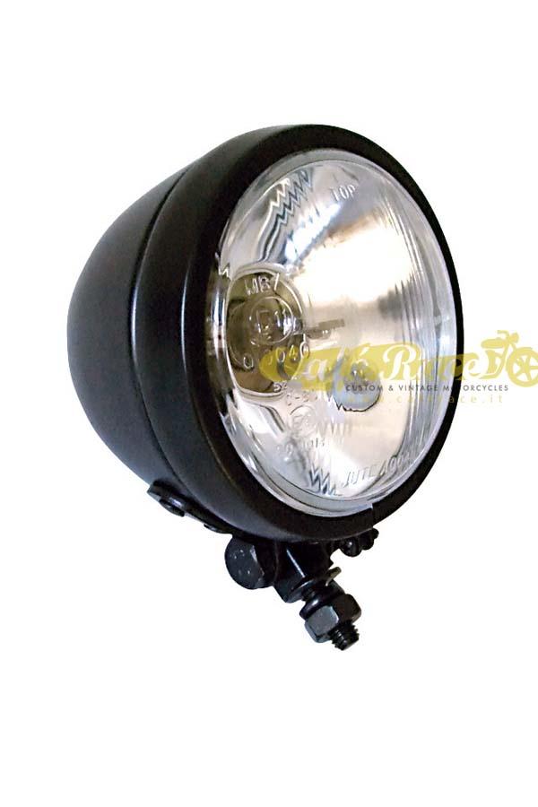 12 V completo n/° 2 bombillas hal/ógenas H3 vetro trasparente AMAS The Best AM.2687 Faro delantero de moto de metal cromado homologadoBig Hammer elaboraci/ón CNC