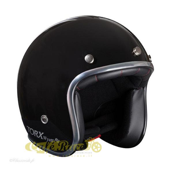 Casco-jet-Torx-omologato-Nero-lucido-interno-nero-con-visierino-in-taglie-ECE