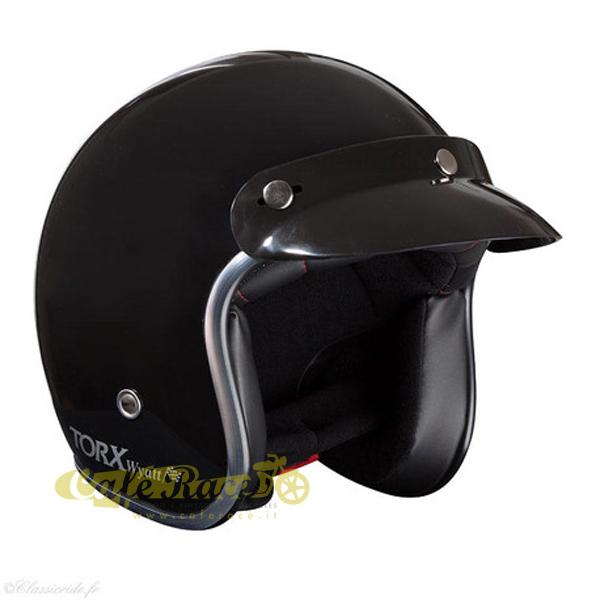 Casco-jet-Torx-omologato-Nero-lucido-interno-nero-con-visierino-in-taglie-ECE miniatura 2