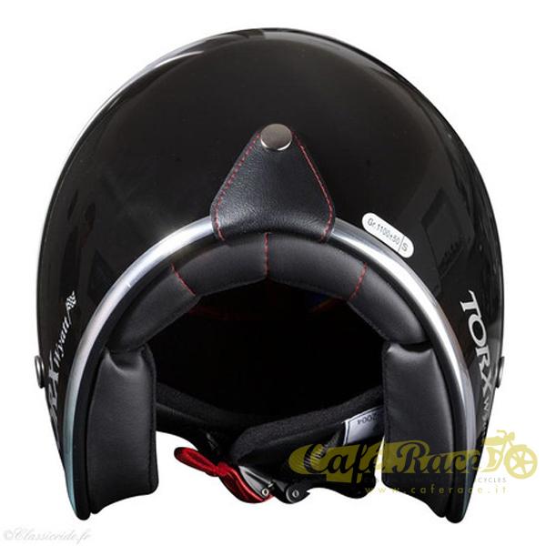 Casco-jet-Torx-omologato-Nero-lucido-interno-nero-con-visierino-in-taglie-ECE miniatura 3